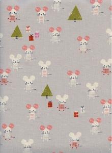 Baumwollstoff mit Mäuschen // Cotton and Steel Frost Little Friends Natural // Japanische Baumwolle Meterware mit Mäusen // grau pink weiß