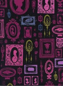 Baumwollstoff mit viktorianischen Wanddekorationen // Cotton and Steel Haunted Hallway // Japanische Baumwolle Meterware schwarz violett