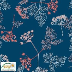 Jersey Stoff mit Wildblumen // Baumwolljersey Meterware // Avalana Jerseystoff zum nähen // Kinderstoffe // marineblau rosa