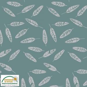 Jersey Stoff mit Federn // Baumwolljersey Meterware // Avalana Jerseystoff zum nähen // Kinderstoffe // graugrün silber