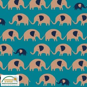 Jersey Stoff mit Elefanten // Baumwolljersey Meterware // Avalana Jerseystoff zum nähen // Kinderstoffe // petrol gold marineblau