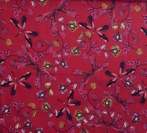 Viskose Stoff mit Libellen und Blumen // Hilco Dragonflies // Viskosestoff Kleiderstoff Meterware // Webware zum nähen // weinrot