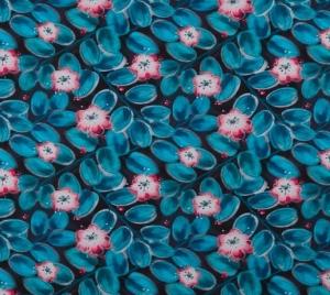 BIO Jersey Stoff mit Lotus Blumen // lillestoff Lagoon // Baumwolljersey Meterware Lotosblumen // Bio Stoffe zum nähen // türkis pink