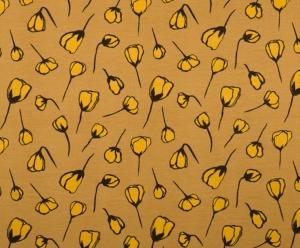 Modal Jersey Stoff mit Blüten // lillestoff Indian Summer Natalie Zart // Viskose Meterware //  Stoffe zum nähen // senf gelb