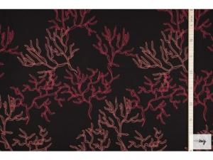 Modal Jersey Stoff mit Koralle // lillestoff Nestgezwitscher Viskosejersey Meterware bedruckt //  Stoffe zum nähen // schwarz rosa orange