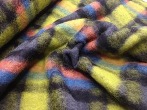 Wollwalk Strickstoff mit Schottenkaro Motiv // Hilco Karostoff Meterware // Strickwolle zum nähen // Wolle Kleiderstoffe // gelbgrün grau