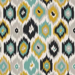 Baumwollstoff mit Ikat Motiv // Art Gallery Blurry Frontiers // Retro Stoff Meterware // Baumwolle zum nähen // lindgrün grau türkis schwarz