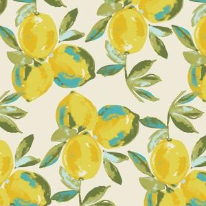 Baumwollstoff mit Zitronen // Art Gallery Yuma Lemons Mist // Retro Stoffe Meterware // Pima Baumwolle zum nähen // gelb grün creme