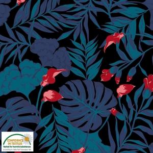 Jersey Stoff mit Dschungelblättern // Baumwolljersey Meterware // Avalana Stoffe zum nähen // Trikotstoff klecks // blau, rot