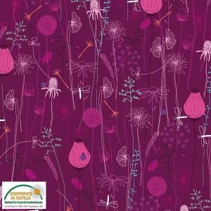 Jersey Stoff mit Wildblumen // Baumwolljersey Meterware // Avalana Stoffe zum nähen // Trikotstoff Blumen // fuchsia, pink