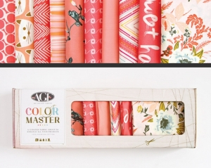 Stoffpaket Baumwolle 10 St. // AGF Color Master Coraline // Patchwork Stoffe Paket  // Fat Quarters zum nähen // lachsrosa, pink