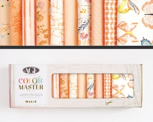 Stoffpaket Baumwolle 10 St. // AGF Color Master Quite Peachy // Patchwork Stoffe Paket  // Fat Quarters zum nähen // lachsrosa, orange, pastell