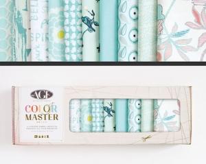 Stoffpaket Baumwolle 10 St. // AGF Color Master Fresh Water // Patchwork Stoffe Paket  // Fat Quarters zum nähen // blau weiß