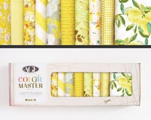 Stoffpaket Baumwolle 10 St. // AGF Color Master Lemon Green // Patchwork Stoffe Paket  // Fat Quarters zum nähen // gelb, weiß