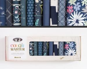 Stoffpaket Baumwolle 10 St. // AGF Color Master Midnight Ocean  // Patchwork Stoffe Paket  // Fat Quarters zum nähen // dunkelblau, marineblau