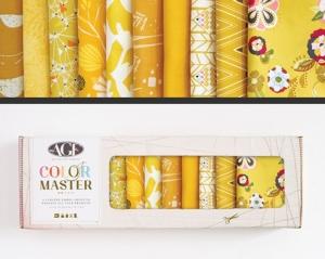 Stoffpaket Baumwolle 10 St. // AGF Color Master Gold Leaf // Patchwork Stoffe Paket  // Fat Quarters zum nähen // gelb, senfgelb