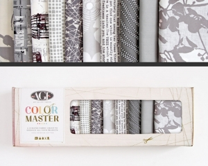 Stoffpaket Baumwolle 10 St. // AGF Color Master Clean Slate // Patchwork Stoffe Paket  // Fat Quarters zum nähen // grau