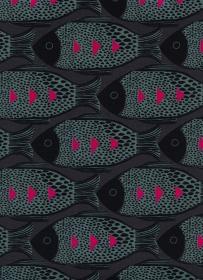 Baumwollstoff mit Fischen  // Cotton and Steel Fish Charcoal // Japanische Baumwolle Meterware // Patchwork Stoffe zum nähen // anthrazit