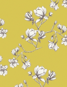 Baumwollstoff mit Magnolienblüten // Art Gallery Magnolia Study Zest // Pima Baumwolle Meterware // Blumen Stoffe zum nähen // gelb, weiß