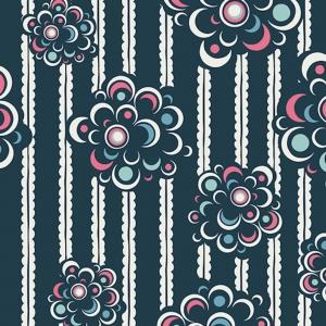 Baumwollstoff mit Pop Art Blumen und Streifen // Art Gallery Defying Buds Sea // Pima Baumwolle Meterware // Stoffe zum nähen // blau, pink