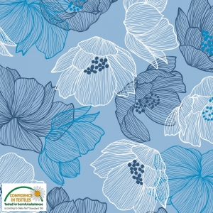 Sweat Stoff mit Blumen // geblümter French Terry Sweatstoff Meterware // Sweatshirtstoff zum nähen // blau weiß marineblau