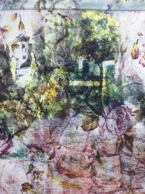 Sweat Stoff mit Schloss Motiv // French Terry Sweatstoff Meterware // Sommersweat mit Blumen // weiß rosa grün