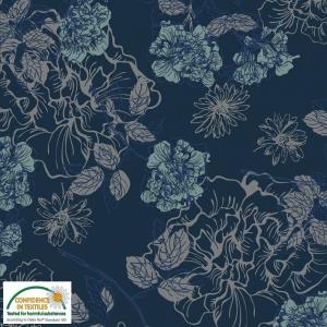 Jersey Stoff mit Blumen // Baumwolljersey Meterware // Avalana Stoffe zum nähen // Jerseystoff geblümt // dunkelblau, türkis