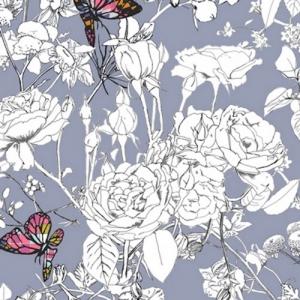 Baumwollstoff mit Schmetterlingen und Blumen // Art Gallery Pixelfly Eden Lilac // Pima Baumwolle Meterware // Stoffe zum nähen // grau, bunt