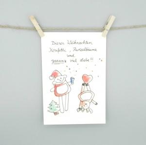 Weihnachtskarte von nini san, Postkarte mit Weihnachtsmann und Rentier - Handarbeit kaufen