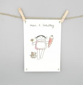 Karte zur Einschulung, Postkarte von nini san