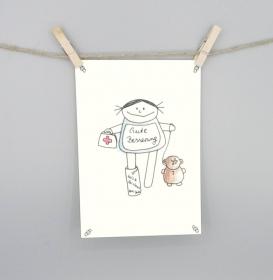 Gute Besserung Karte, Postkarte für Gesundheit von nini san - Handarbeit kaufen