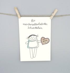 Schwester Karte, Grußkarte von nini san für das Schwesterchen - Handarbeit kaufen