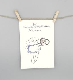 Karte für den Sohn, Sohnemann Postkarte von nini san