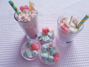 Kerzen Dekokerzen Muffin Milchshake Crumble 50er Jahre Motto Erdbeer Vanille Duftkerzen