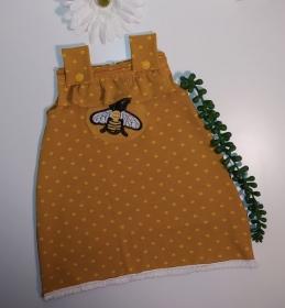 Babykleidchen, Tunika, Kleid für Mädchen mit Bienchen Patch als Geschenk - Handarbeit kaufen