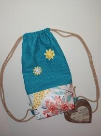 Turnbeutel Dots Faultier mit Blumen floral Kidsfashion für Schule oder Freizeit - Handarbeit kaufen