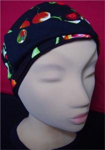 Stirnband in Schwarz mit Blumenmuster und Schmucknadel