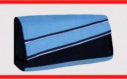 Schicke hellblaue Clutch aus Velourleder-Imitat