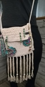 gehäkelte Handmade, Häkeltasche Umhängetasche Boho-Style Hippie, Naturlook, Vintage