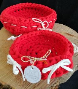 Rote gehäkelte Körbchen aus Textilgarn, Handmade, Recycling Ware!
