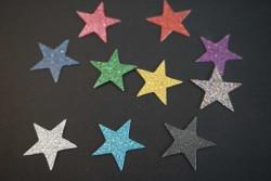 Sterne Aufkleber Hotfix Bügelbild Textilaufkleber Glitterfolie bunt 10 Stück