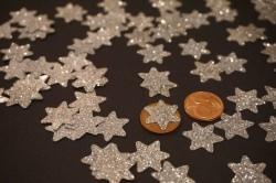 Sterne Aufkleber Hotfix Bügelbild Textilaufkleber Glitterfolie silber 15 Stück
