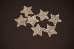 Sterne Aufkleber Hotfix Bügelbild Textilaufkleber Glitterfolie silber 10 Stück