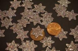 Sterne Aufkleber Hotfix Bügelbild Textilaufkleber Glitterfolie silber irisierend 15 Stück