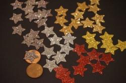 Sterne Aufkleber Hotfix Bügelbild Textilaufkleber Glitterfolie rot  10 Stück