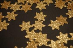 Sterne Aufkleber Hotfix Bügelbild Textilaufkleber Glitterfolie gelb gold 15 Stück