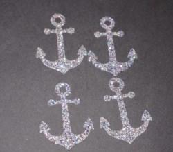 Anker Aufkleber Hotfix Bügelbild Textilaufkleber Glitterfolie silber irisierend 4 Stück