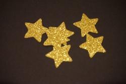 Sterne Aufkleber Hotfix Bügelbild Textilaufkleber Glitterfolie gelb-gold 10 Stück