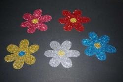 Blumen Aufkleber Hotfix Bügelbild Textilaufkleber Glitte Glitzer Folie