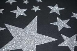 Sterne Aufkleber Hotfix Bügelbild Textilaufkleber Glitterfolie silber 22 Stück Applikation